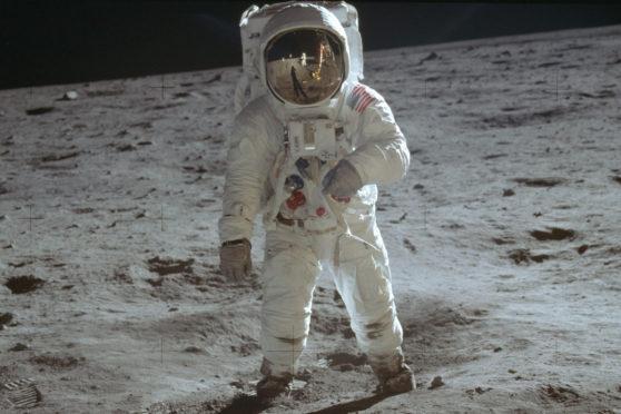 Astronaut Buzz Aldrin on the moon.