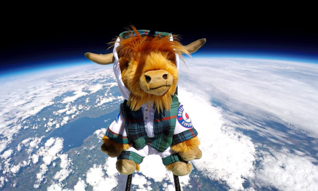 Video: Highland Coo-smonaut launched into near space to celebrate new tourism guide - The Courier