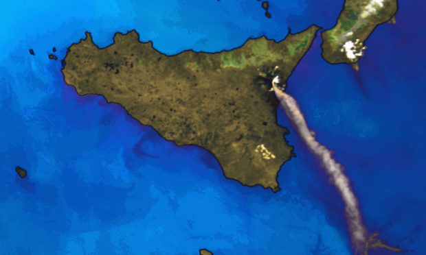 An image collected by DSRS showing a giant plume of ash and toxic gas spewing from Mount Etna in Sicily in 2001