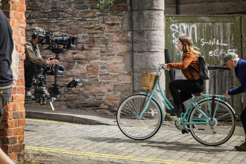 Molly Windsor on set during filming of Traces in Wellington Street, Dundee.