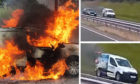 The van caught fire on the A90 between Dundee and Forfar.