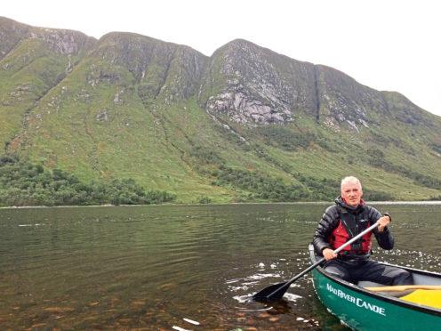 Alan Rowan paddling over Loch Etive for the Sturgeon Moon walk.