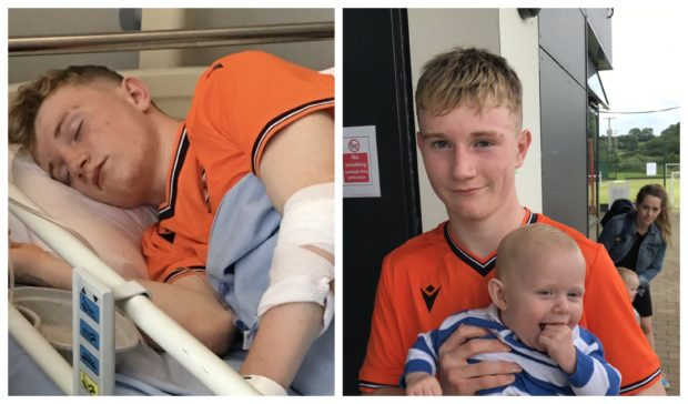 Ryan in hospital, left, and with brother Aldo, right, following a game in the SuperCupNI