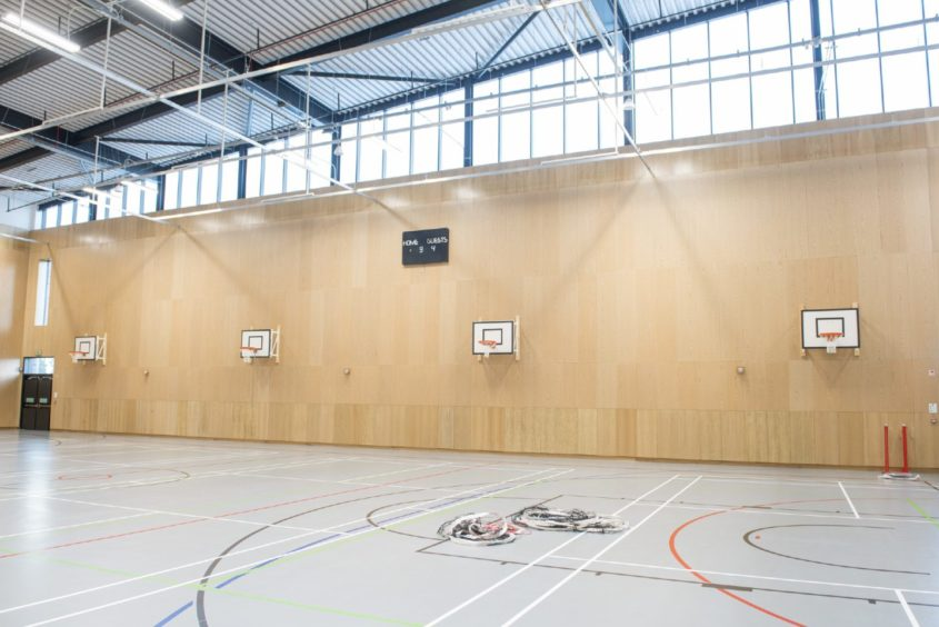 The sports hall.