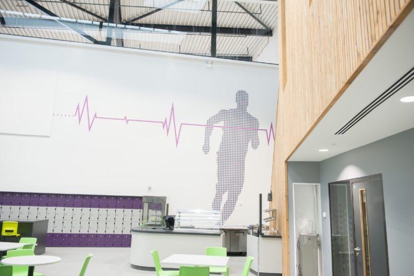 Modern wall art at the new school.