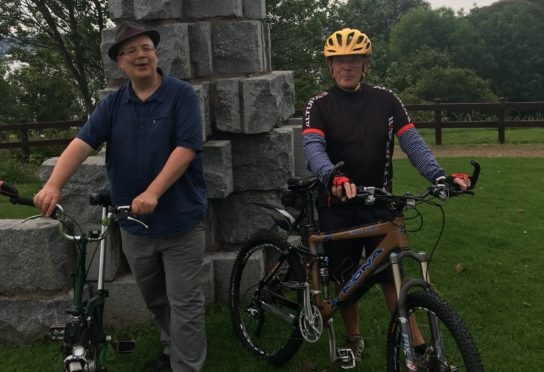 Lib Dem Councillor Jonny Tepp and Andrew Morrison  from North Fife Cycles.
