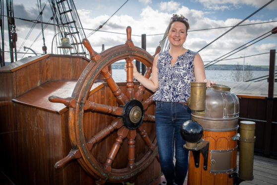 Dr Rebecca Wade aboard the RRS Discovery.