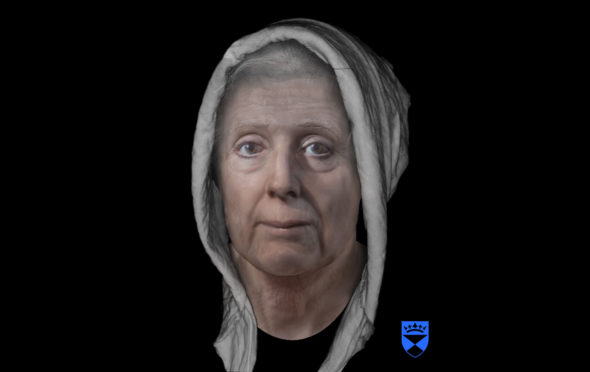 """The digitally reconstructed face of an 18th-century """"witch"""" Lilias Adie as she may have appeared  in the early 1700s, who died in jail before she could be burned for her """"crimes""""."""