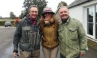 "Paul Whitehouse, Claire Mercer Nairne (with Bob's ""stolen"" hat) and Bob Mortimer at Meikleour"