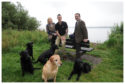 Jane Drysdale, Secretary, Gordon Douglas with his dogs and Andrew Turnbull, President, of the Kinross Show