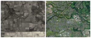 Before Glenrothes was built in the 1940s and how the town looks today.
