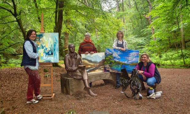 Artists Maryann Reeves, Malize McBride, Audrey Slorance and Heather Cumming at the Birks near Aberfeldy, will all be exhibiting.