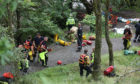 Emergency services at Bracklinn Falls, near Callander, Perthshire.