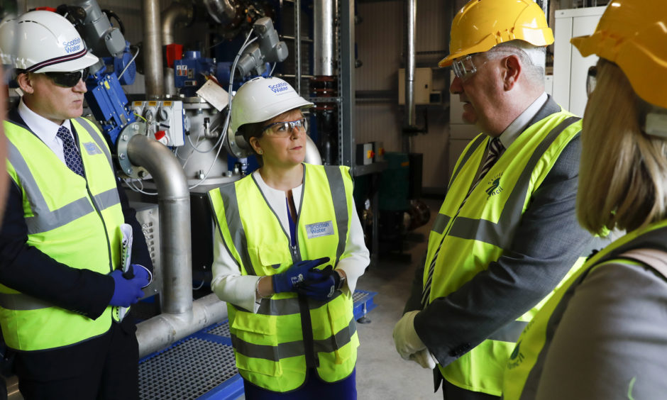 First Minister of Scotland Nicola Sturgeon visited Scottish Water's new energy centre in Stirling, where she officially opened a new £6 million renewable energy scheme providing low-cost heat from wastewater.