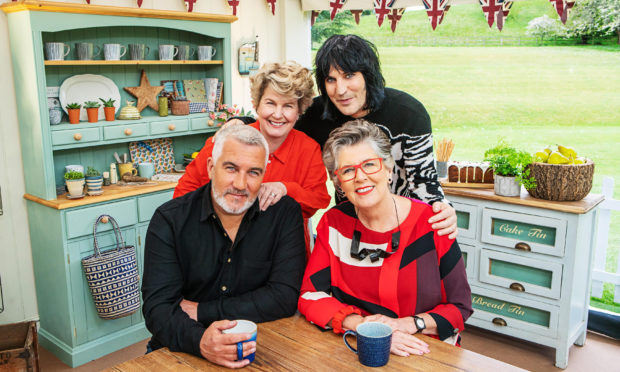 The Great British Bake Off presenters (rear left to right) Sandi Toksvig and Noel Fielding with (front left to right) Paul Hollywood and Prue Leith.