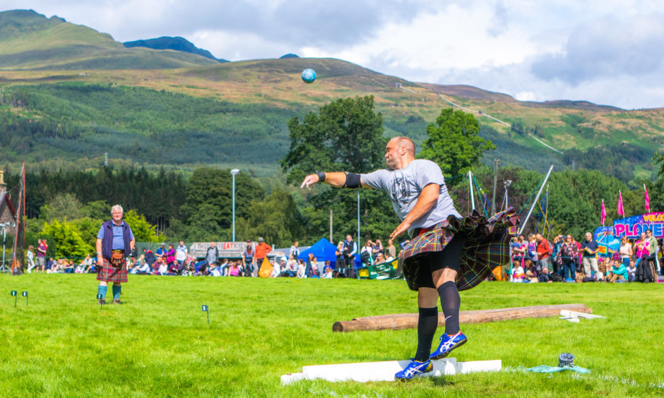 The 25th Killin International Highland Games took place earlier this week. Picture shows local competitor in the heavy events, Stuart Anderson (from Lochearnhead) during the shot putt.  Picture by Steve MacDougall / DCT Media
