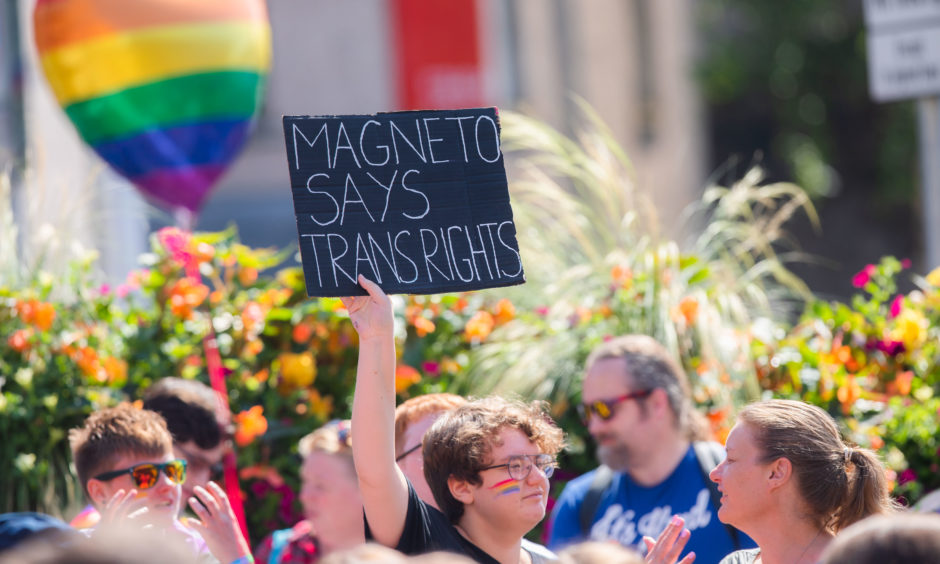 Banners / crowds at Pride.