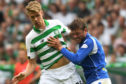 Celtic's Kris Ajer and Murray Davidson in action.