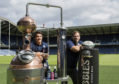 Sam Johnson (L) and Fraser Brown re-launch Scottish Rugby's deal with Crabbie's.