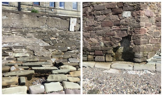 Chunks of stone have fallen from the wall