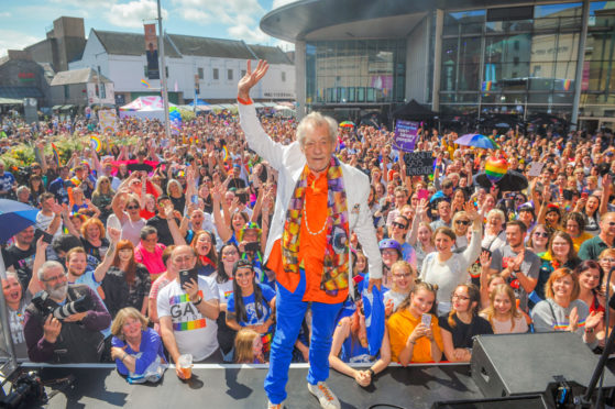 Sir Ian McKellen on stage at Perthshire Pride