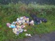The rubbish discarded during the recent fly-tipping incident at St Vigeans.