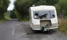 """Caravan near the Gas Pipeline between Pitcairngreen and Moneydie. A """"notice of intention to remove"""" has been issued by PKC."""