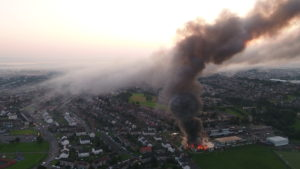 Smoke billowing into the Fife sky during the blaze at Woodmill High School.