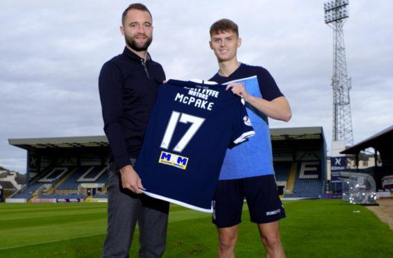 Dundee boss James McPake with namesake Josh.