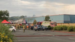 The fire has caused major damage to the B&M store.