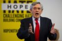 """Former Prime Minister Gordon Brown speaks at a """"No to No-Deal"""" rally at Gorbals Parish Church on September 9, 2019 in Glasgow."""