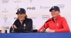 Juli Inkster and Stacey Lewis (r) were still in ebullient mood after injury forced Lewis' withdrawl from the US Solheim Cup team.