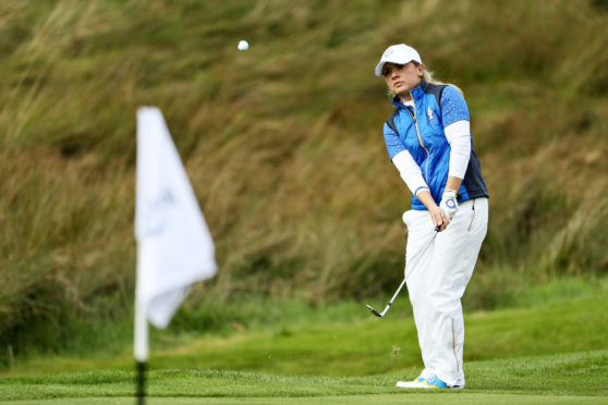 Bronte Law during her crucial match with Ally McDonald during the final day singles at the Solheim Cup.