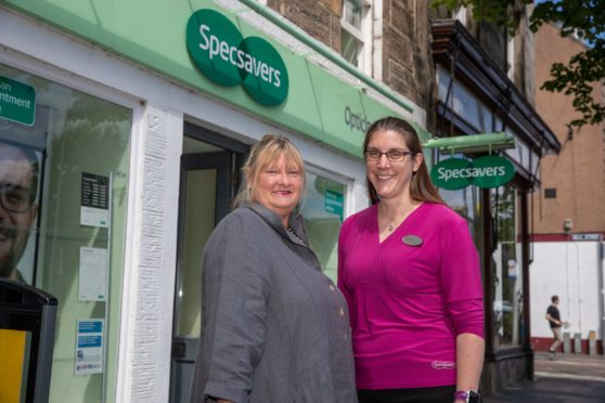 Alison Wright with Specsavers optician Kirsty Bidgood.