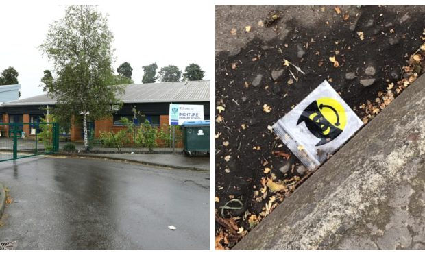The 'drug' bag, right, was found near Inchture Primary School