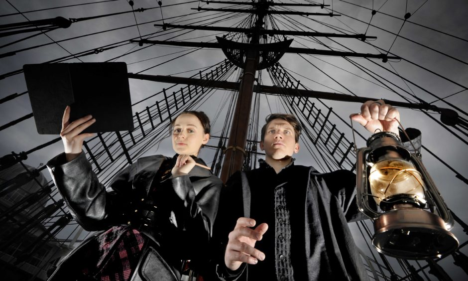 Pictured on-board Dundee's heritage research ship the RRS Discovery (and at the ship's main steering wheel) are Scottish screen actress Eilidh Loan (from Glasgow), depicting Mary Shelley and English actor Ben Castle-Gibb as Victor Frankenstein.