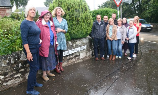 Gallowhill Street campaigners are worried that pupils could be struck by vehicles if more houses are built.