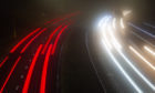 Light trails from vehicles on the A90 at the Lochlands Junction.