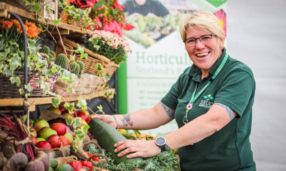 Heather Munro setting up the SRUC Elmwood display at Dundee Flower and Food Festival.