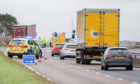 The scene of the fatal accident on the A90 near Brechin.