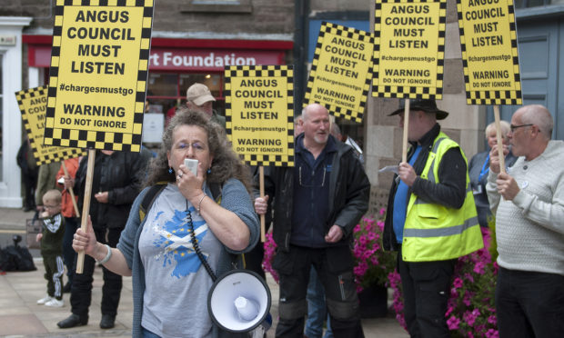Demonstrators stage 'noisy protest' outside the Town and County Hall, Forfar.