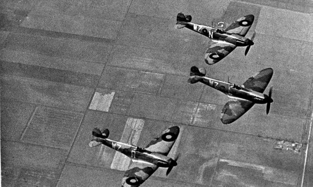 No.19 Fighter Squadron Supermarine Spitfires flying in formation at Duxford in 1939 prior to the Battle of Britain.