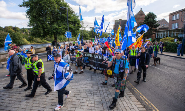 The All Under One Banner march on Tay Street.