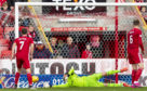 Aberdeen keeper Joe Lewis can't keep out Michael O'Halloran's shot.