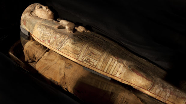 The mummy and case, kept beneath Perth Museum and Art              Gallery