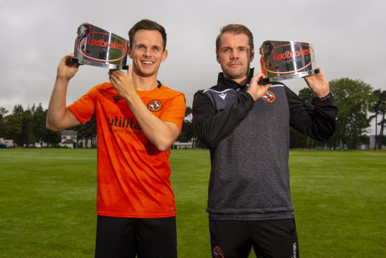 Lawrence Shankland and Robbie Neilson with their awards.
