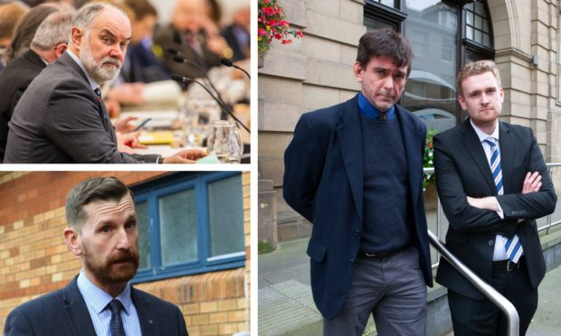Right: suspended councillors Colin Stewart and Callum Purves. Top left: council leader Murray Lyle. Bottom left: SNP group leader Dave Doogan.