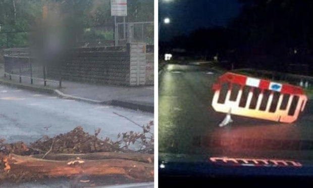 Youths have dragged tree trunks and other items on to Glenrothes roads.