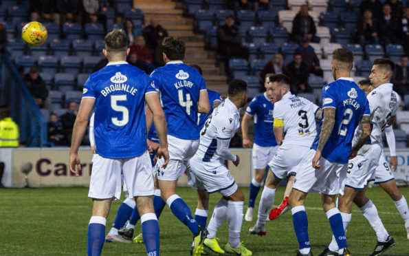 Dundee's Jordan McGhee scores to make it 1-1.