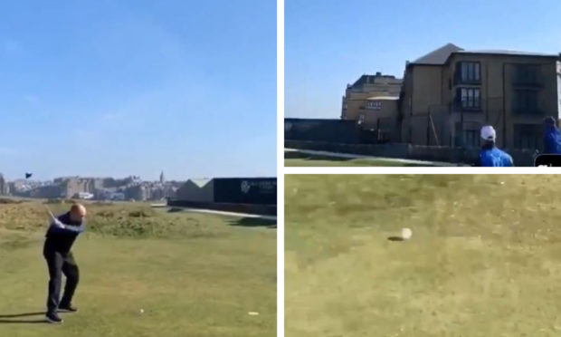 The golfer's attempt to tee-off from the Road Hole in St Andrews has gone viral.
